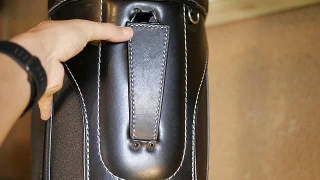(BURBERRY)バーバリー/キャディバッグの穴あき補強板の仮合わせ