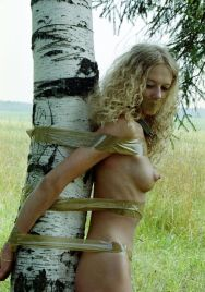 Awesome Blond Girlfriend Gets Tape Bound and Gagged in the Woods