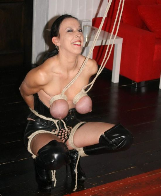 Awesome Brunette in High Heel Boots Gets Tightly Bound and Punished