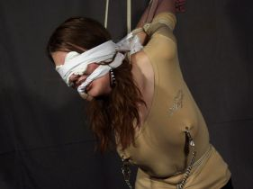 Awesome Redhead Gets Cleave Gagged, Bound and Blindfolded for Training