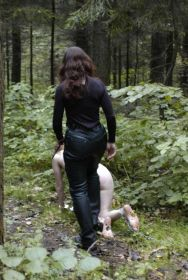 Beautiful Blond Slave Trained by Her Cruel Mistress in the Woods