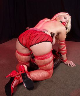 Beautiful Blonde in Stockings and High Heels Bound and Dominated