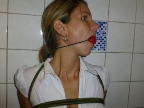 Beautiful Russian Housewife Bound and Gagged by Her Husband at Home