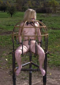 Blond Slave Ball Gagged, Chained, Penetrated and Punished Hard Outside