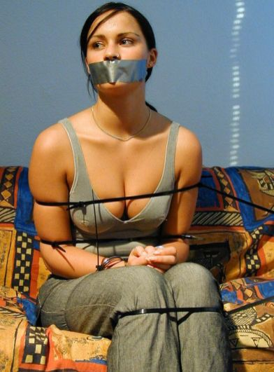Brunette Girlfriend Gets Tape Gagged and Restrained at Home for Fun