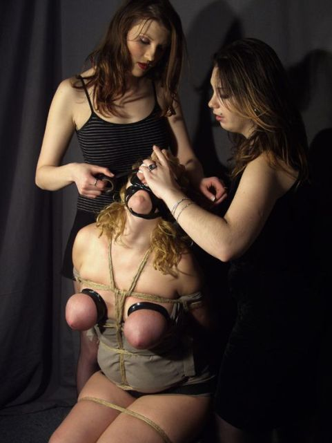 Busty Amateur Blindfolded, Bound and Humiliated by Two Hot Mistresses
