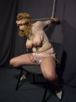 Busty Amateur Tightly Bound, Ball Gagged and Blindfolded for Fun