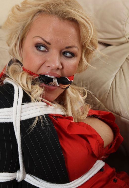 Busty Blond Secretary Cleave Gagged and Tightly Bound in the Office