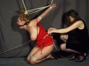 Curvy Blond Slave Gets Tortured Hard by Her Beautiful Young Mistress