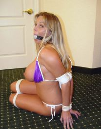 Curvy Blonde Tightly Bound, Ball Gagged and Disciplined in Hotel Room