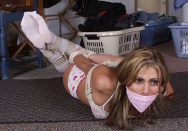 Cute Blond Girlfriend Gets Hogtied and Gagged at Home for Discipline
