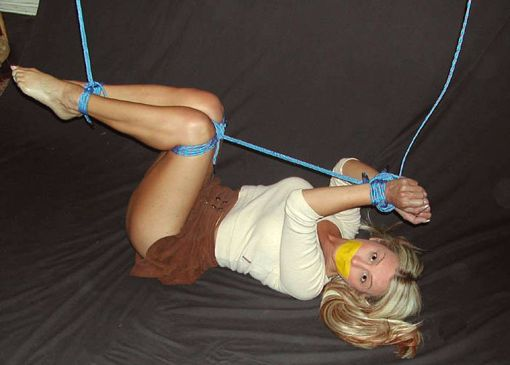 Cute Blond Girlfriend Tightly Bound and Tape Gagged for Punishment