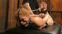 Cute Blond Slave Gets Stripped, Whipped and Dominated in the Dungeon