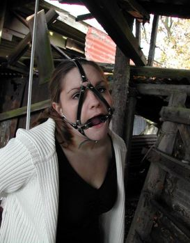 Cute Brunette Girlfriend Harnessed, Gagged and Bound Outside