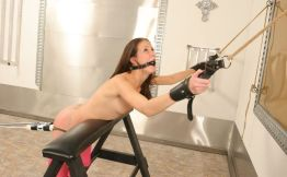 Cute Skinny Brunette Gets Restrained, Ball Gagged and Dominated Hard