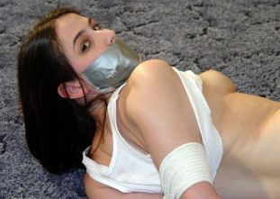 Cute Young Girlfriend Tape Gagged and Tightly Bound by Her Boyfriend