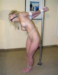 Gorgeous Blonde Bound and Gagged for Discipline in Basement