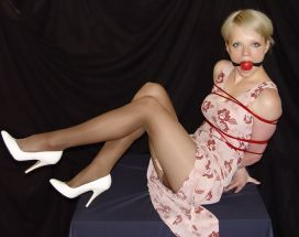 Gorgeous Blonde in High Heels Gets Ball Gagged and Tightly Bound