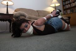 Gorgeous Brunette in High Heel Boots Tightly Bound and Gagged at Home