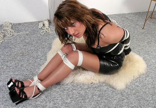 Gorgeous Brunette in Latex and Heels Gets Tightly Bound and Gagged