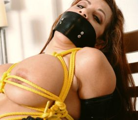 Gorgeous Busty Brunette in Latex Gets Bound and Gagged for Discipline