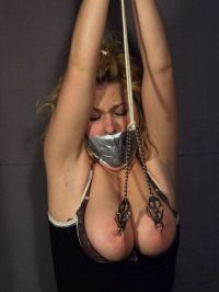 Gorgeous Slave Blindfolded, Gagged and Dominated by Her Sexy Mistress