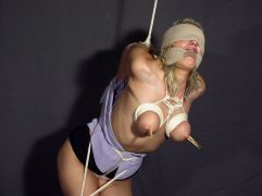 Hot Blonde in High Heels Gets Tightly Bound, Blindfolded and Tortured
