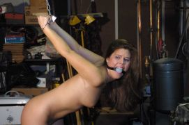 Hot Girlfriend in High Heels Restrained, Stripped and Gagged