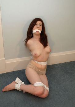 Hot Petite Brunette Tightly Bound and Cleave Gagged in Basement