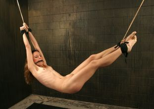 Hot Skinny Brunette Suspended and Disciplined Hard in Dungeon