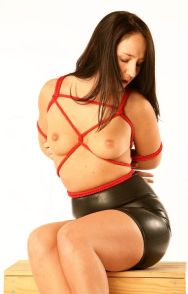 Pretty Brunette in Latex Skirt and High Heels Gets Bound and Trained
