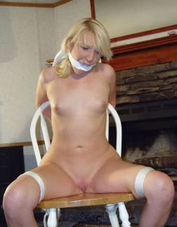 Sexy Blond Amateur Bound and Cleave Gagged at Home for Fun