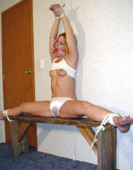 Sexy Blond Girlfriend Bound, Spread and Gagged for Discipline