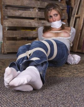Sexy Blond Girlfriend Gets Gagged and Hogtied by Her Boyfriend for Fun