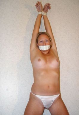 Sexy Blond Girlfriend Restrained, Gagged and Spread for Discipline