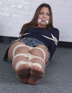 Sexy Young Brunette Gets Cleave Gagged and Tightly Bound for Fun