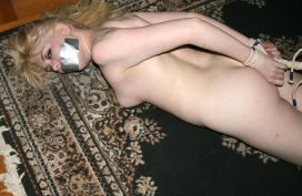 Young Blond Amateur Gets Stripped, Tape Gagged and Tightly Bound
