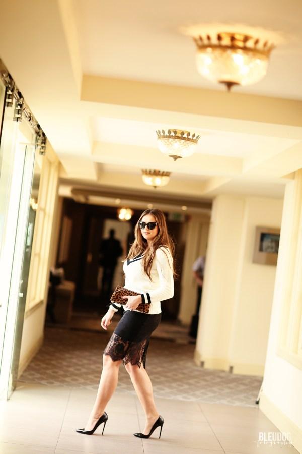 #OOTD // Varisty Sweater & Lace Pencil Skirt   BondGirlGlam.com
