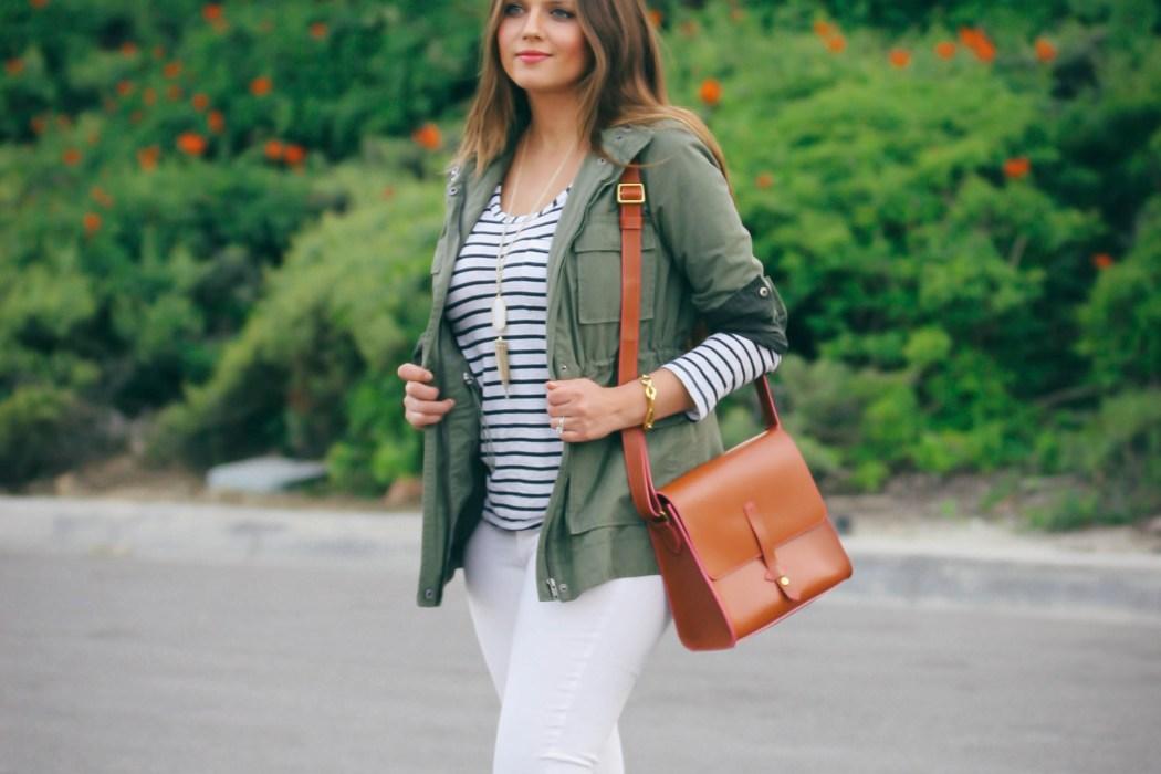 #OOTD // Casual Safari Chic Green Anorak & White Skinnies | BondGirlGlam.com