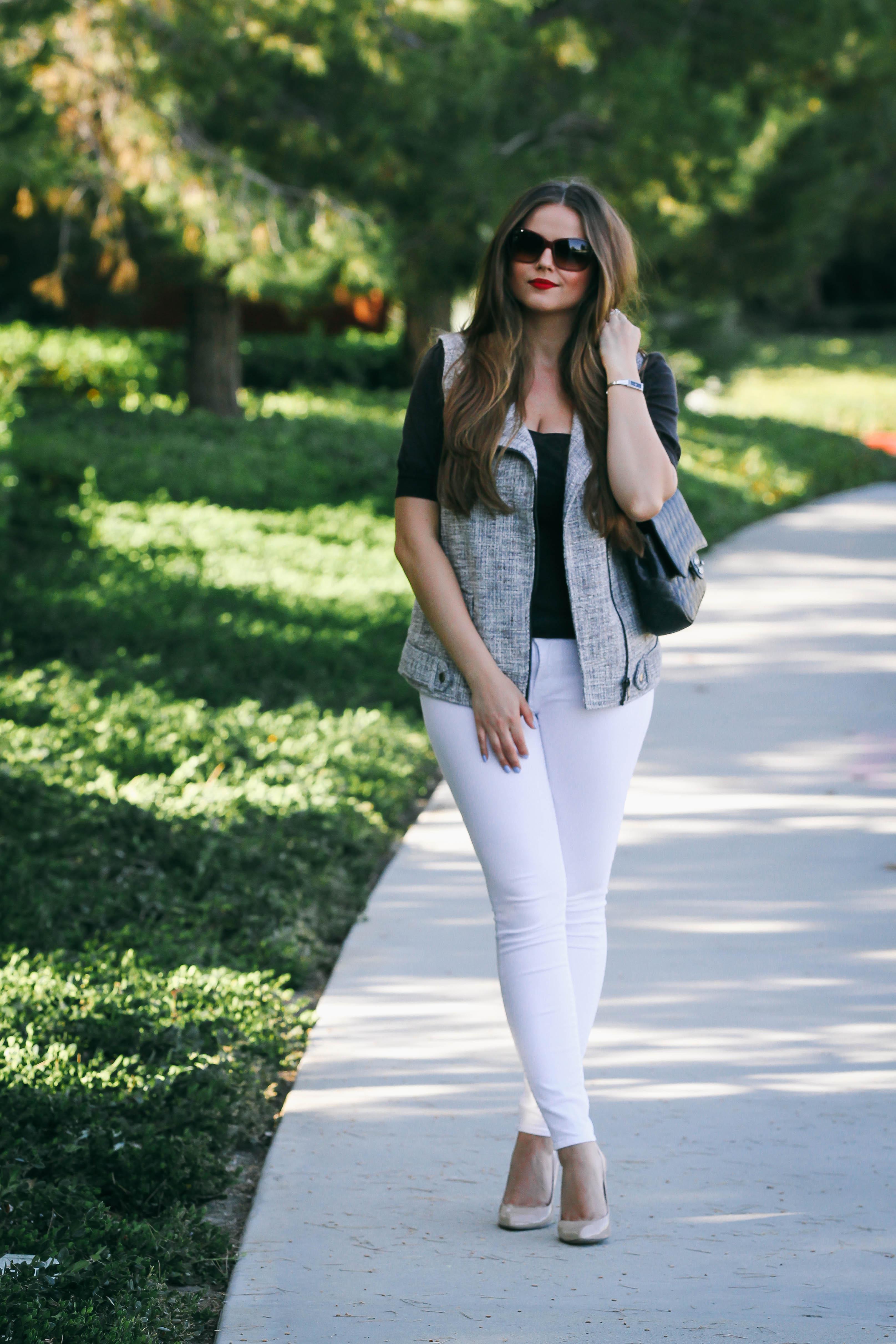 Ootd  Tweed Moto Vest  White Skinny Jeans  Bondgirlglamcom  A Fashion, Baby -7901