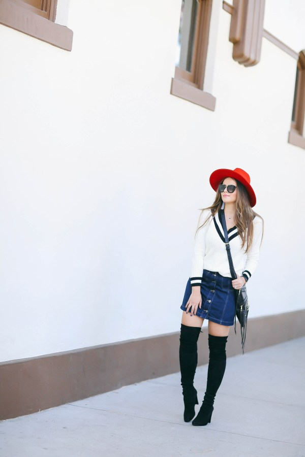 #OOTD // Varsity Sweater & Button Front Denim Miniskirt   BondGirlGlam.com