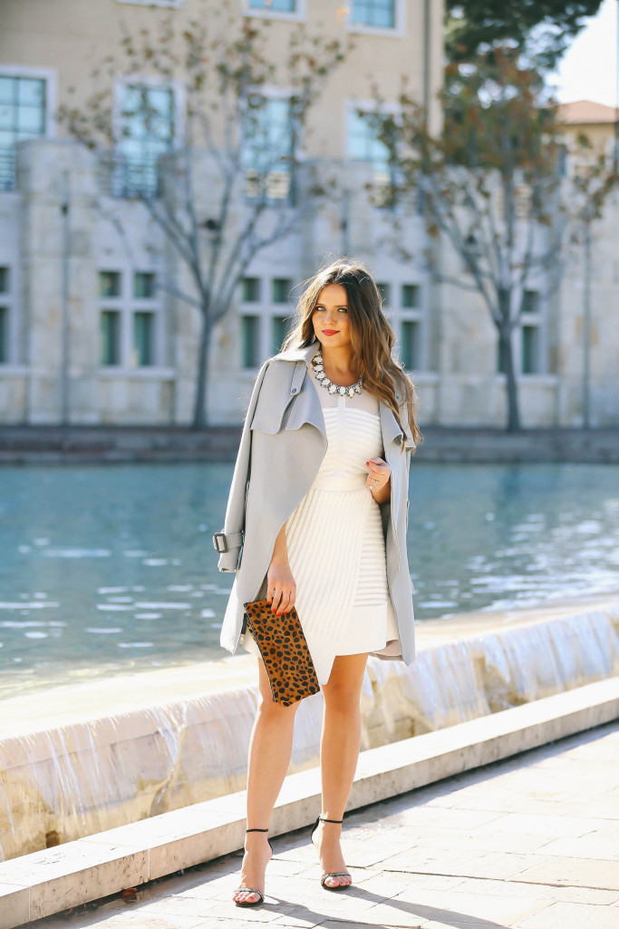 #OOTD // Blue Trench Coat & White Fit & Flare Dress | BondGirlGlam.com
