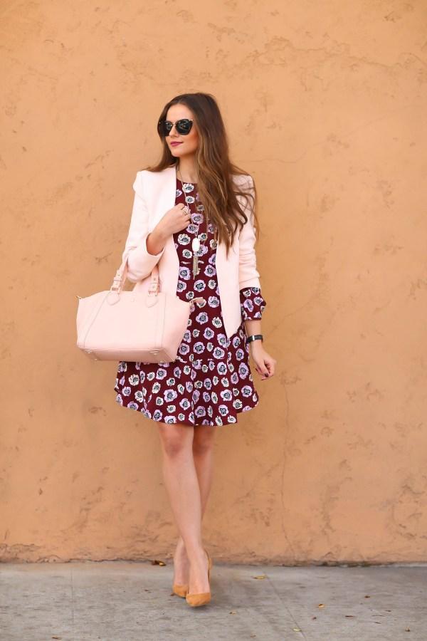 #OOTD // Blush Blazer & Floral Flounce Dress | BondGirlGlam.com