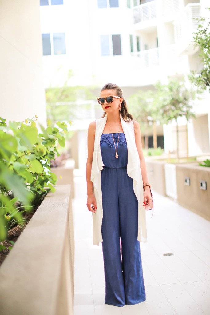 Ootd Chambray Jumpsuit Amp White Duster Vest