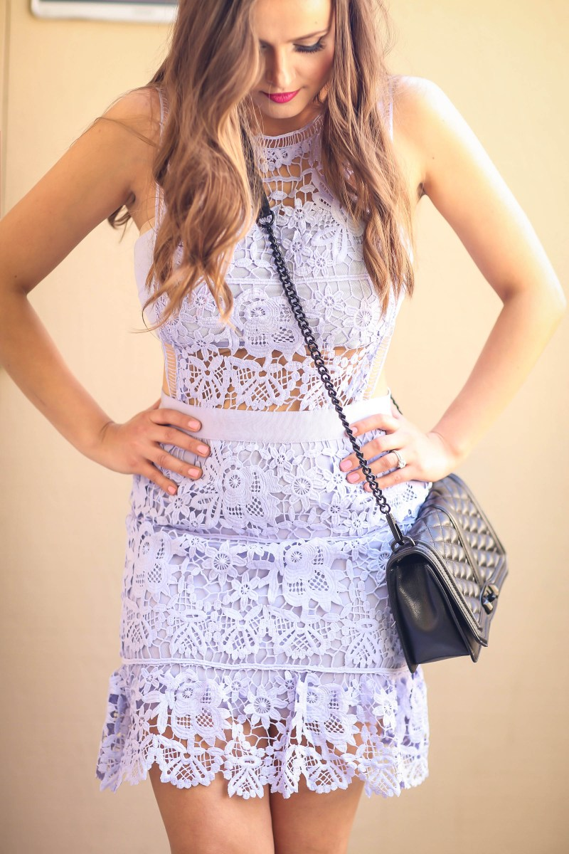 Ootd Light Blue Lace Illusion Mini Dress