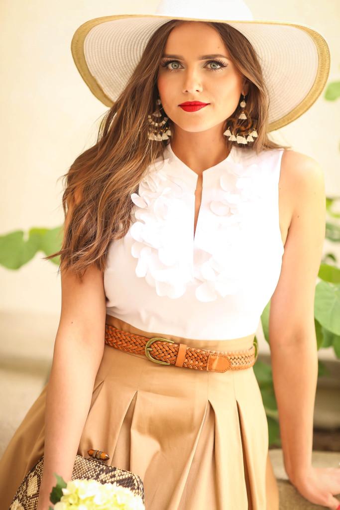 #OOTD // Belted Cotton Midi Dress with Petal Appliqués | BondGirlGlam.com