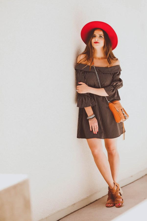 #OOTD // Off-the-Shoulder Pinstripe Dress | BondGirlGlam.com