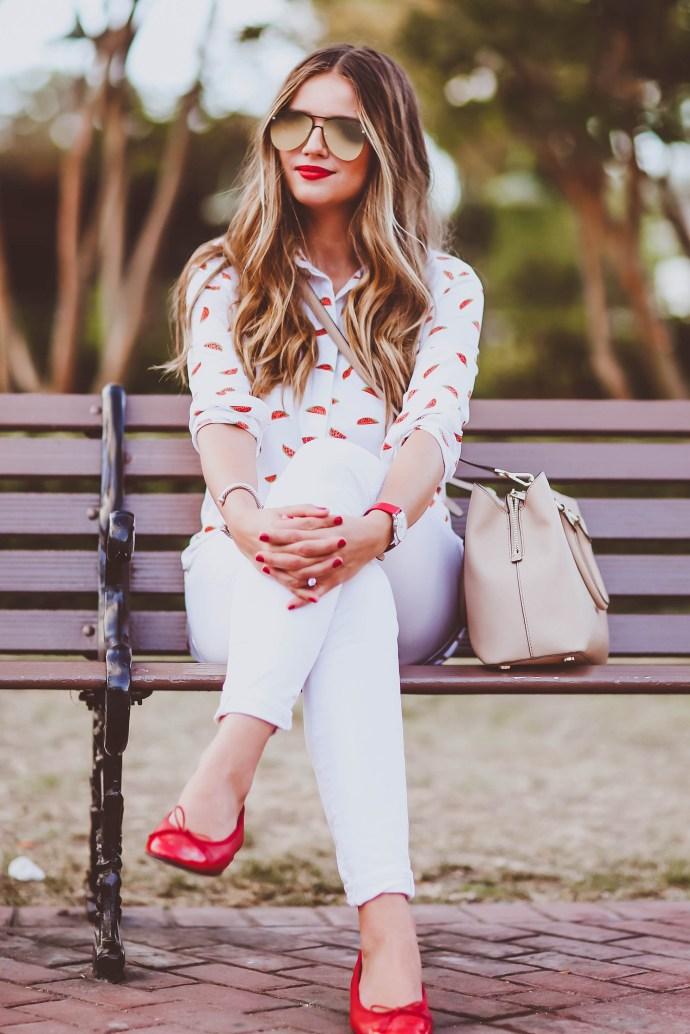 #OOTD // Watermelon Print Shirt & White Skinny Jeans | BondGirlGlam.com