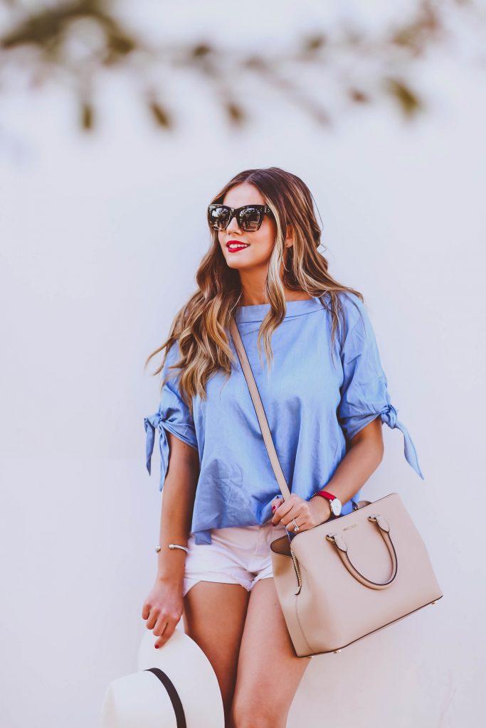 #OOTD // Blue Off-the-Shoulder Top & White Cutoff Shorts | BondGirlGlam.com