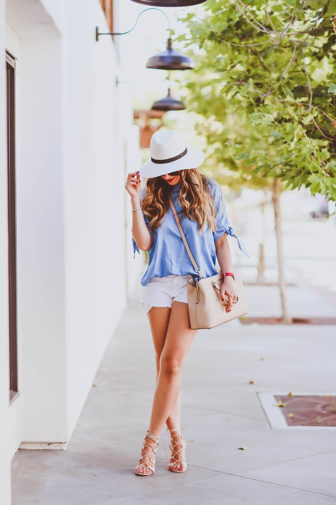 #OOTD // Blue Off-the-Shoulder Top & White Cutoff Shorts | BondGirlGlam.com